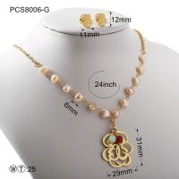 Best Pearl Gold Or Silver Hollow Flover Stainless Steel Jewelry Set Classic Style wholesale