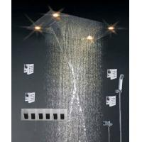Buy cheap High - End Color Changing Ceiling Mounted Rain Shower Head With Body Jet , Square Shape product