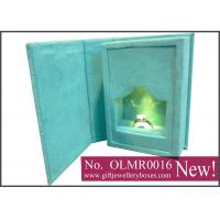 Best Rechargeable USB cardboard and MDF, green suede Lighted jewelry ring box and ring gift box wholesale