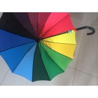 Best Solid Stick Multi Coloured Umbrella Curved Leather Handle Pongee 190T Fabric wholesale