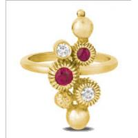 China Bubble Looked Fashion Jewelry Rings Lovely Womens Yellow Gold Ruby Crystal on sale