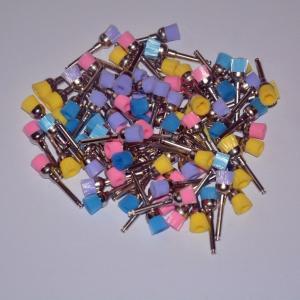 China 100Pcs/bag Dental Colorful Polishing Polisher Prophy Bowl Brushes Nylon Latch Flat on sale