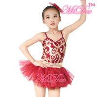 Best Fancy Kids Dance Costumes Floral Sequin Dress Matching Tulle Tutu Skirt wholesale