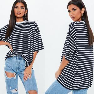 China Oversized Custom Stripe Drop Shoulder T Shirt Printing on sale
