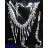 China Silver Plated Costume Jewelry Crystal Necklace and Earring Set for Wedding on sale