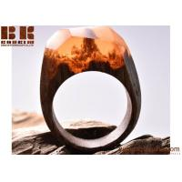 Best Hot Selling Ocean World Fashion Wood Resin Ring Handmade Jewelry wholesale
