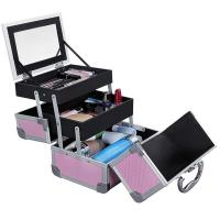 Best Portable Mini Makeup Vanity Case Organizer Box With Mirror 2 Trays Pink wholesale