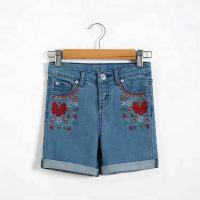Best Flower Embroidery Girls Denim Shorts Knee Length With Adjustable Size Waist wholesale