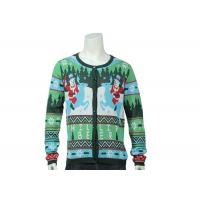 Best Green Knitted Jumper Ugly Christmas Sweaters With Snowman And Reindeer Pattern wholesale