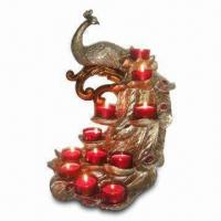 Best Peacock Candle Holder with 11 Red Glass Cups in Gold Finish, Measures 28 x 26 x 41cm wholesale