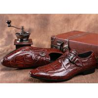Cheap Mens Single Monk Strap Shoes , Moc Toe Dress Shoes With Embossed Crocodile Pattern for sale