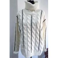 China High Collar Cable Pullover Fashion Sweaters With Contrast Colour Hand Crochet Stitches on sale
