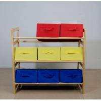 China 60CM Height Kids Playroom Furniture Toy Organizer With Nine Fabric Storage Bins on sale