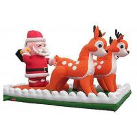 Best Santa Clause Inflatable Holiday Decorations With Reindeers Double Line Stitched wholesale