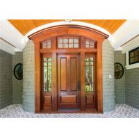 China Double Leafs Israel Solid Wood Exterior Front Doors Tempered Glass For Villas Teak Color on sale