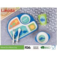 Best Food Grade Eco Bamboo Childrens Dinner Set 5 pcs Set with 4-sections Plate Glass Fork and Spoon Shatter-proof Reusable wholesale