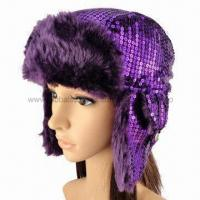 Novelty sequins fashionable winter hat with soft fake fur lining and earflap