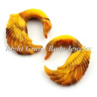 Best Brown Swan Carved Spiral Ear Tapers Plugs Gauge For Party / Wedding wholesale