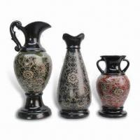 Buy cheap Decorative Flower Vase Made of Ceramic, Available in Green, Blue and Red Colors from wholesalers