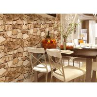 Cheap 3D Effect Stone Pattern Washable Vinyl Wallpaper With Foam Process Natural Style for sale
