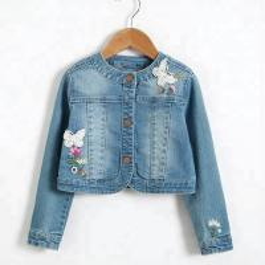 Best Long Sleeve Kids Denim Clothes / Girls Denim Jackets With Lace Patch Decoration wholesale