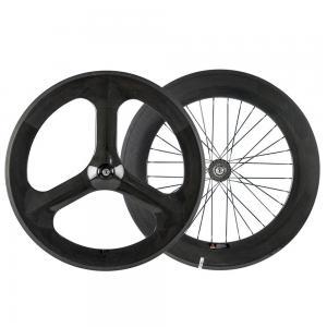 China 100% 3 Spoke Track Bicycle Wheels 700 88mm Road Tubular Clincher 3K Matte Finish on sale