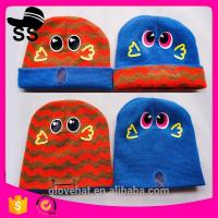 Best 2017 new style YIWU 100% acrylic Embroidered 16*17cm Animal Beanies cap Young Man Monster Winter Knitting Critter Hats wholesale