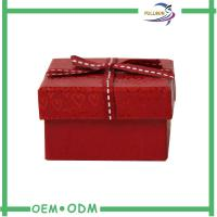 China Small Red Square Paper Gift Box Christmas Gift Boxes With Ribbon Decoration on sale
