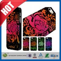 Best Lady Red Glitter Flowers Plastic Luxury Apple Cell Phone Cases Back Covers For Iphone 5 / 5S wholesale
