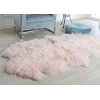 Pink Curly Hair Extra Large Sheepskin RugComfortable Anti Shrink For Home Floor
