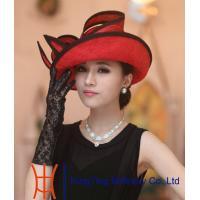 Best Bright Red Fashionable Womens Straw Hat , straw hat with bowknot wholesale