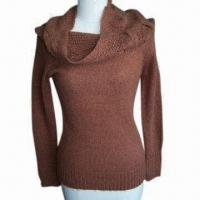 China Ladies' Long-sleeved Pullover, Made of 47% Tencel, 30% Nylon, 20% PTT and 3% Cashmere on sale