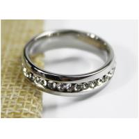 Best Engagement 5mm Zircon Crystal Jewelry Stainless Steel Ring For Girls wholesale
