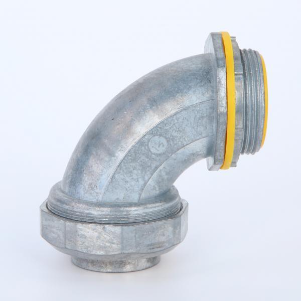 "Cheap 90 Degree Liquid Tight Flelxibele Conduit Connector Zinc Die Casting Yellow Blue Cap UL listed 4"" for sale"