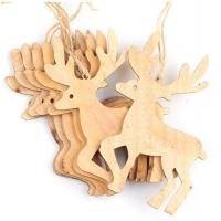 China Unfinished Natural  Wood Reindeer Ornaments Christmas Decoration on sale
