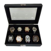 Cheap 8 WATCH BLACK VELVET LEATHER OVERSIZED DISPLAY CASE STORAGE COLLECTOR BOX for sale