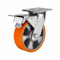 Best 6 inch Orange color Swivel aluminium core PU wheel for heavy duty caster with side brake wholesale