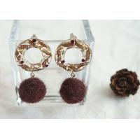 Best Christmas Tale Wild Flower Felt Ball Blanket Ball Ring Green Ear Stud / Resin Ear Clip For Christmas wholesale