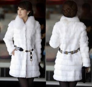 Best White lady fashion rabbit fur coat with fox fur collar wholesale