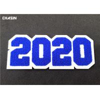 China 3D Custom Sew On Letterman Patches / 2020 Number Chenille Back Patches on sale