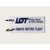 Lot Polish Airlines Embroidery Fabric Key Tag Keychain Label Keyring Remove Before Flight