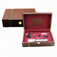China Deluxe Leather Wine Gift Set, Electric Wine Opener, Stainless Steel Material, 5-piece Wine Accessory on sale