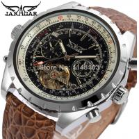 China Stainless Steel Mens Automatic Watch Winner  Black Leather Watch26cm on sale