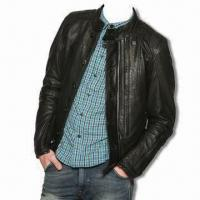 China Men's Washed PU Jacket with No Crinkle Effect and Tonal Black Polyester Lining on sale