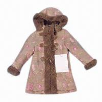 China Children's jacket, print suede bonded with fake fur, with zipper closure, three buckles in front on sale