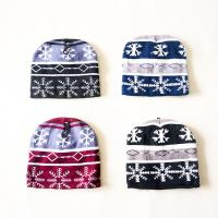 China Deluxe simple winter striped snowflake pattern Knitted Beanies hats knitting crochet cap for teenagers kids on sale