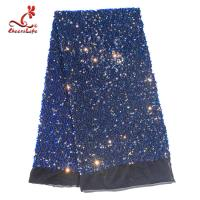 Best SGS Laser Sequins Shinny Embroidered Lace Fabric With Elastic Mesh wholesale