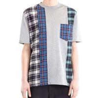 Best Plaid Stitching Mens Trendy T Shirts Fabric Weight 120 Grams OEM / ODM Available wholesale