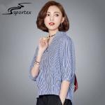 Best Blue Stripe V Neck Lady Blouse , Womens Dressy Blouses Sweat Absorbent wholesale