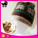 Best 2017 Custom Wholesale 20*28cm 77g 100% Acrylic Jacquard Snowflower with tassel  Winter Inner Fleece Knitting Beanie Hats wholesale